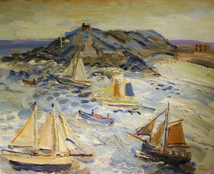 Fred Yates - Sailing Craft Off the Island